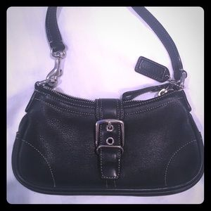 Coach- Black leather clutch/small shoulder bag
